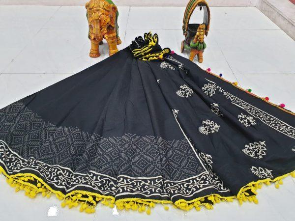Traditional Black mugal print cotton pompom saree