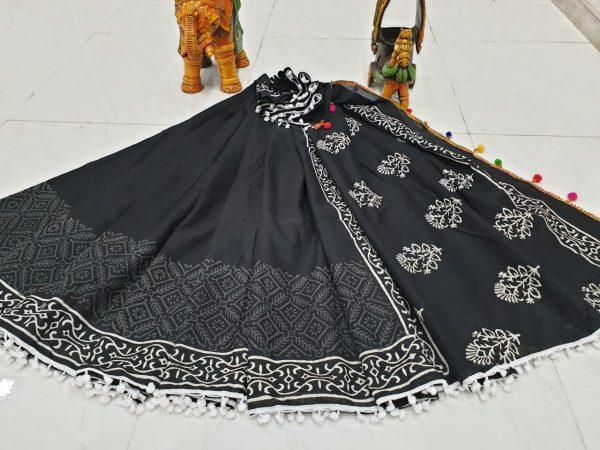 Superior quality Black mugal print cotton pompom saree