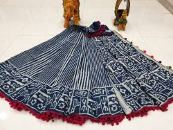 Pompom Cotton Mulmul Saree (6)