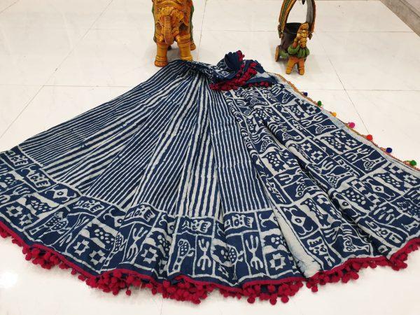 Blue white indigo dabu print print cotton pompom saree