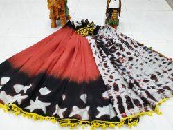 Shibori print cotton pompom saree color Red white