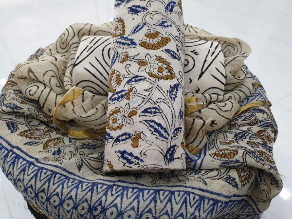 Zari border cotton suit rapid print color white blue