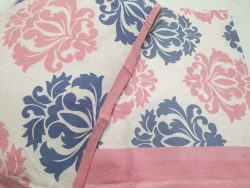 White pink Cotton bedsheet for double bed