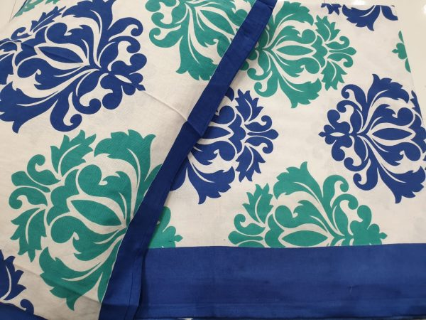Blue white Cotton bedsheet for double bed