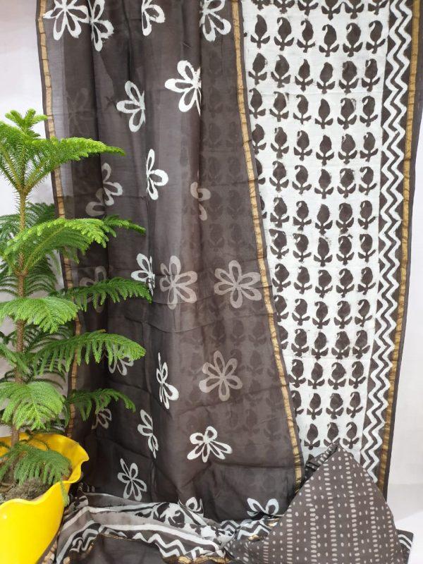 Chanderi suit bagru print black partywear