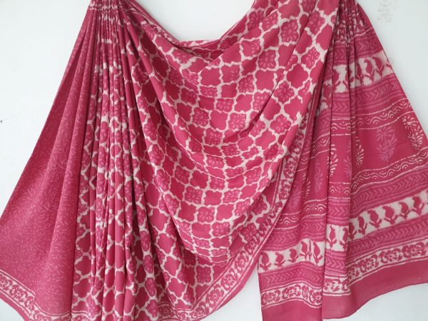Cotton mulmul saree bagru print color pink