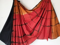 Cotton saree shibori print color red black partywear
