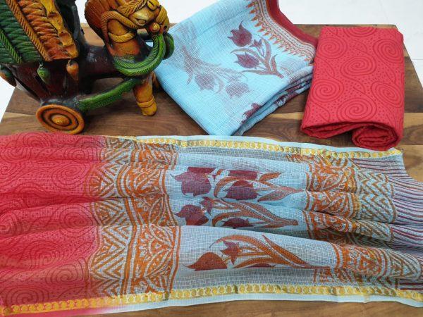 Kota doria suit pigment print color red partywear