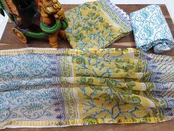 Kota doria suit Rapid print color Yellow white partywear dress materiel