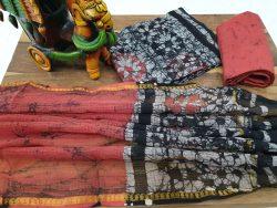 Kota doria suit Batik print color Salmon black partywear