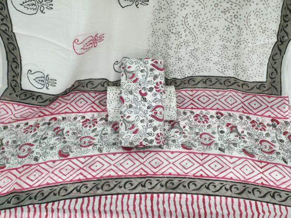 Cotton suit dupatta Mugal print color white pink partywear