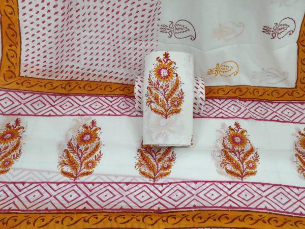 Cotton mulmul dupatta suit mugal print color white Ochre partywear dress