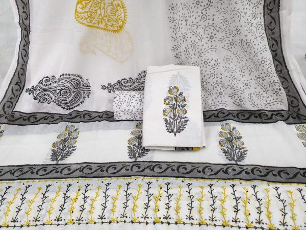 Cotton mulmul dupatta suit mugal print color White silver