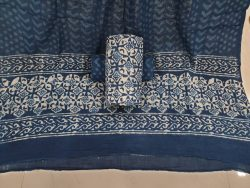 Cotton mulmul dupatta suit Indigo print color  white blue