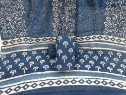 Cotton mulmul dupatta suit Indigo dabu print color blue
