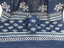 Cotton mulmul dupatta suit indigo dabu print color blue partywear