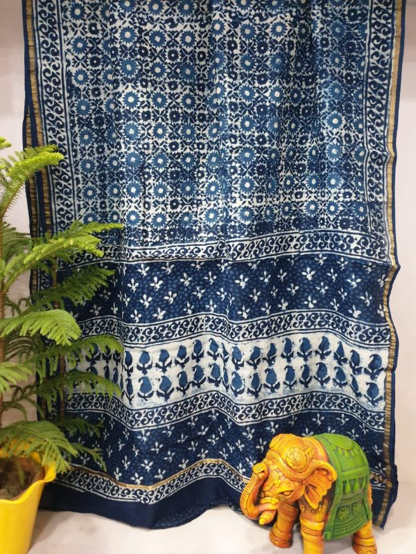 Chanderi saree indigo dabu print blue color