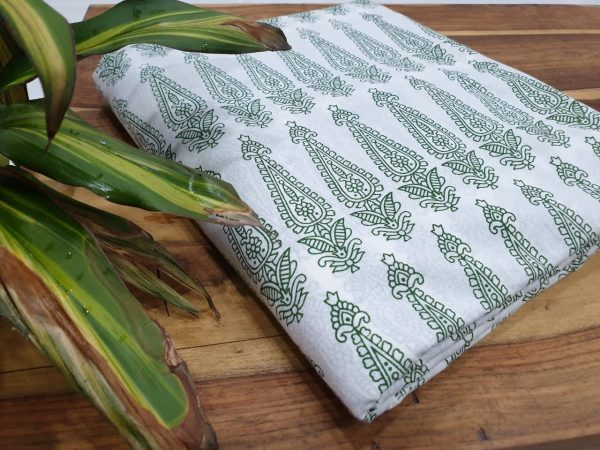pigment print cotton running material color Viridian white