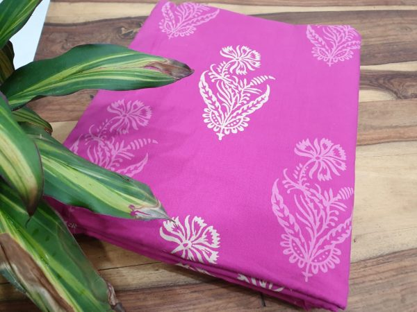 mugal print cotton running material color pink