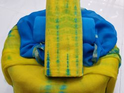 Zari border cotton suit shibori print yellow cyan partywear