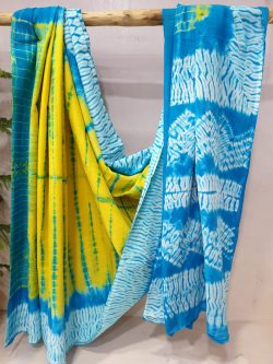 Yellow cyan Cotton mulmul saree with blouse for ladies