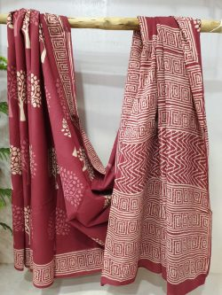 Maroon cotton mulmul saree mugal print partywear for ladies