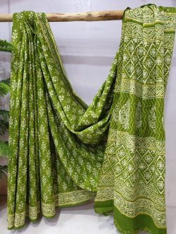 Chartreuse green cotton mulmul saree pigment print with blouse partywear for ladies