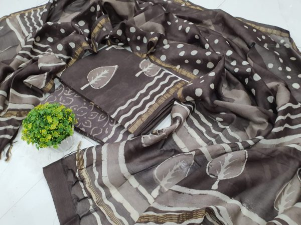 Taupe mughal print chanderi silk suit with cotton bottom