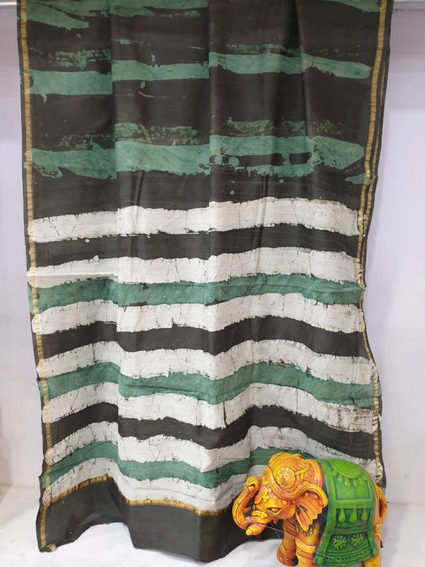 Partywear Jungle green and black chanderi silk saree for ladies