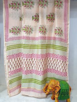 Champagne pink Chanderi Silk saree with blouse for ladies