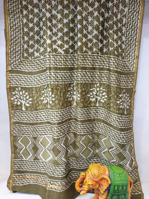 Partywear Olive chaneri silk saree with blouse