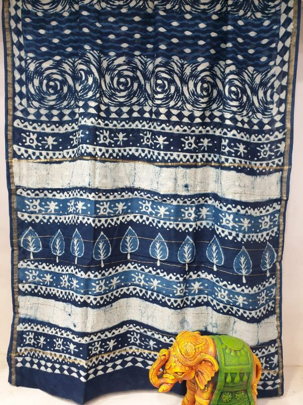 Partywear Blue white Chanderi saree with blouse for ladies