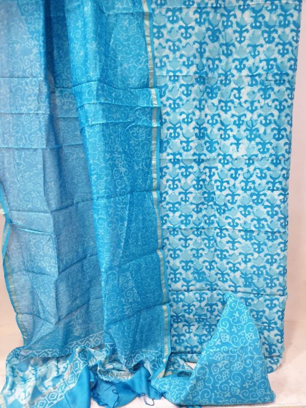 Partywear Cyan and white Chanderi suit dupatta for ladies