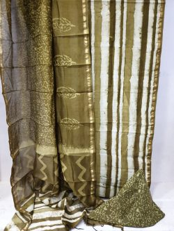 Olive and white chanderi suit dupatta