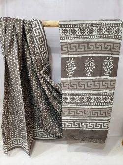 Daily wear gray and white Cotton mulmul saree