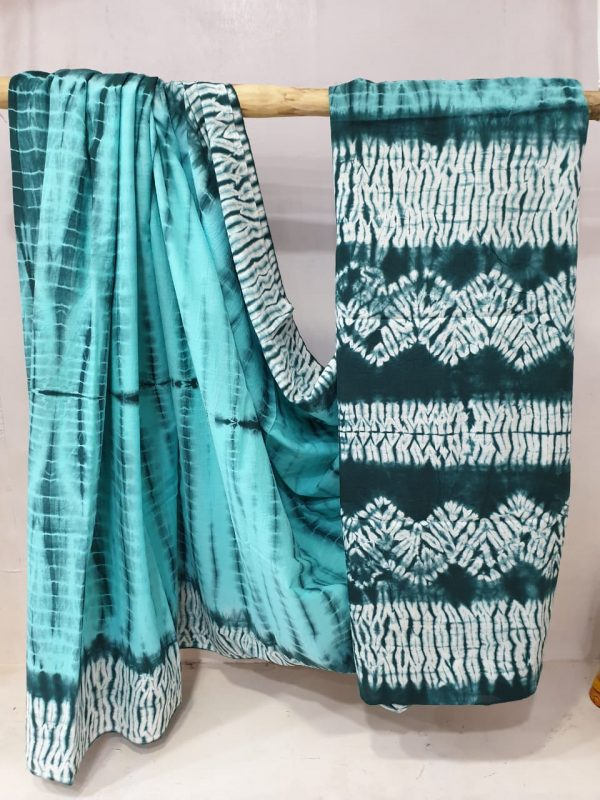 summerwear Aquamarine and teal Cotton mulmul saree