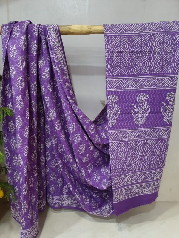 Daily wear Blue-violet cotton mulmul saree Pigment print