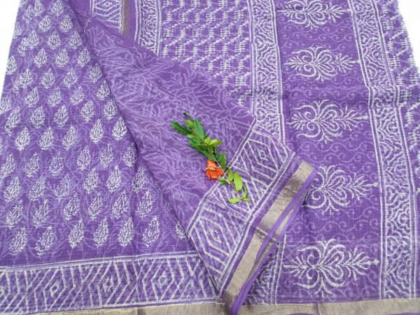 Partywear Lavender Pure kota doria saree for ladies