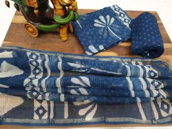 Blue white Kota doria suit indigo dabu print officewear dress materiel