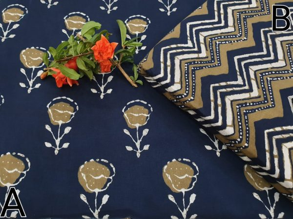blue and Copper running cotton dress materiel for ladies