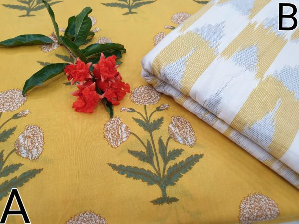 Cotton running material mugal print dress color yellow white