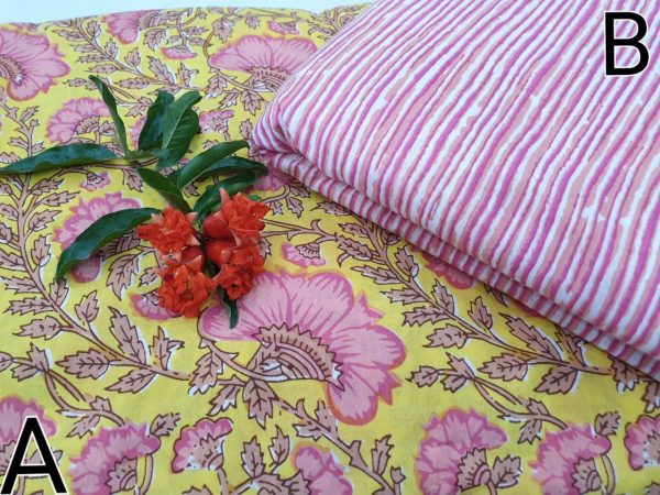 Rapid print cotton running material color yellow pink