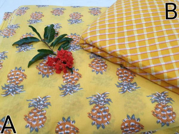 Rapid print cotton running material color yellow