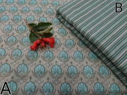 Running materiel fabric cotton Rapid print color Grey Turquoise