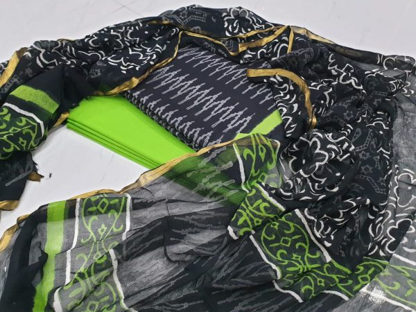Daily wear Chartreuse green Zari border suit for ladies