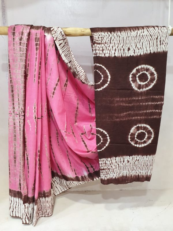 Regular wear Pink and brown Pure Cotton mulmul saree with blouse