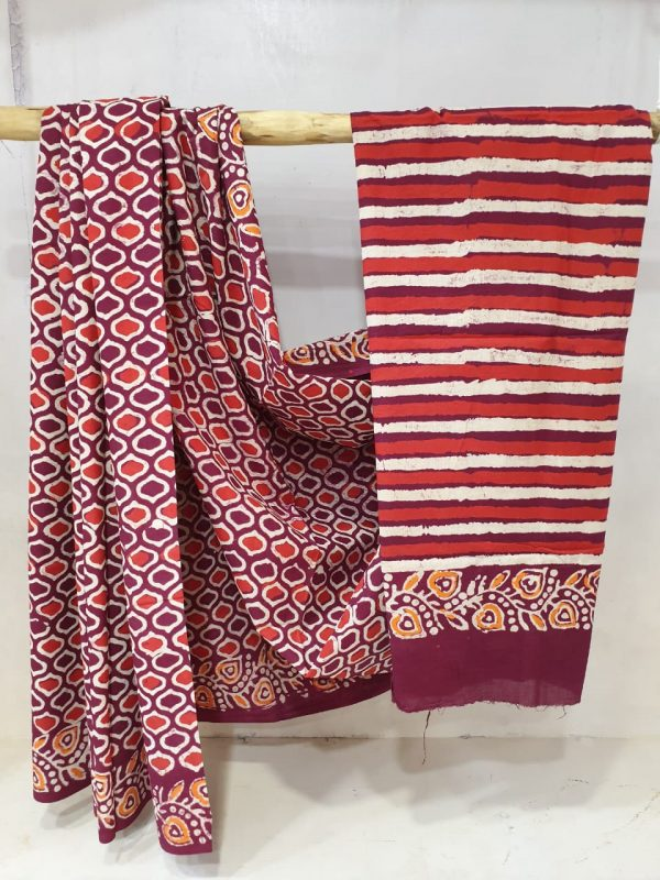 Summer wear Scarlet and Purple Pure Cotton malmal saree with blouse