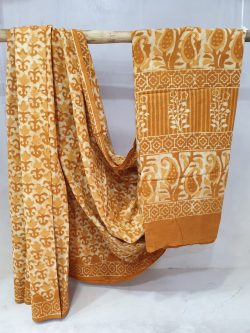 summer wear Bronze and white Cotton mulmul saree with blouse