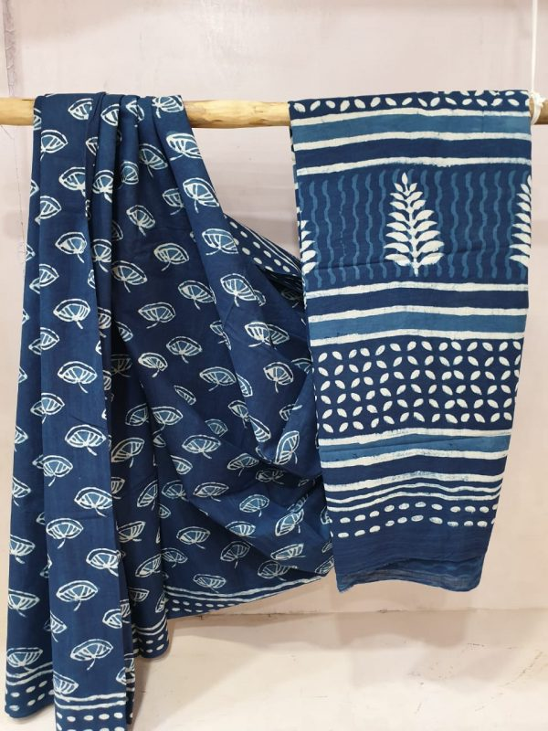 Navy blue and white Cotton Pure mulmul saree with blouse