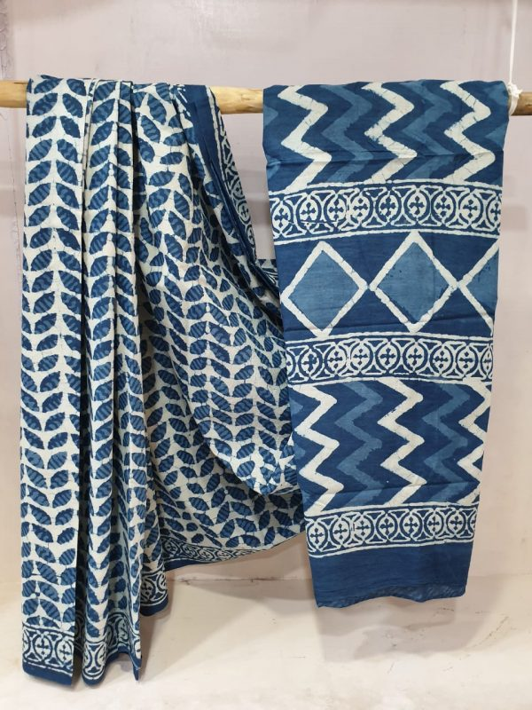 Sapphire and white Pure Cotton mulmul saree with blouse